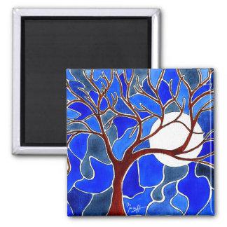 Árbol y luna en la lona - azul imán cuadrado