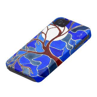Árbol y luna en la lona - azul iPhone 4 cárcasas