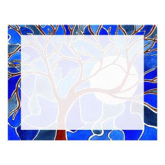 Árbol y luna en la lona - azul membrete personalizado
