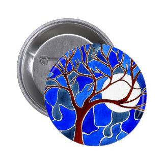 Árbol y luna en la lona - azul pin redondo 5 cm