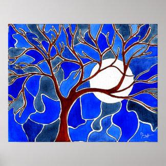 Árbol y luna en la lona - azul póster