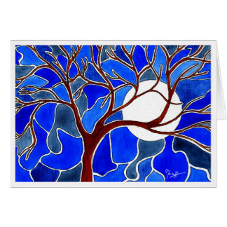 Árbol y luna en la lona - azul tarjeta pequeña