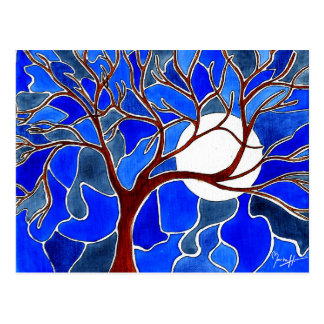 Árbol y luna en la lona - azul tarjeta postal