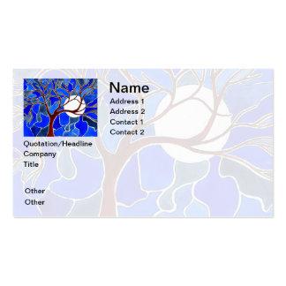 Árbol y luna en la lona - azul tarjetas de visita