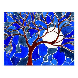 Árbol y luna en la lona - azul tarjetas postales