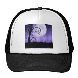 Árbol y luna góticos gorra