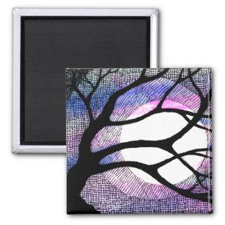 Árbol y luna - púrpura rosada imán