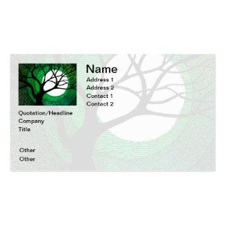 Árbol y luna - verde tarjetas de visita