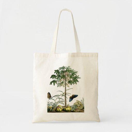 Árbol y mariposas del vintage de la papaya bolsa de mano