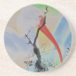 Árbol y pájaro solarized combinados únicos de los  posavasos de arenisca