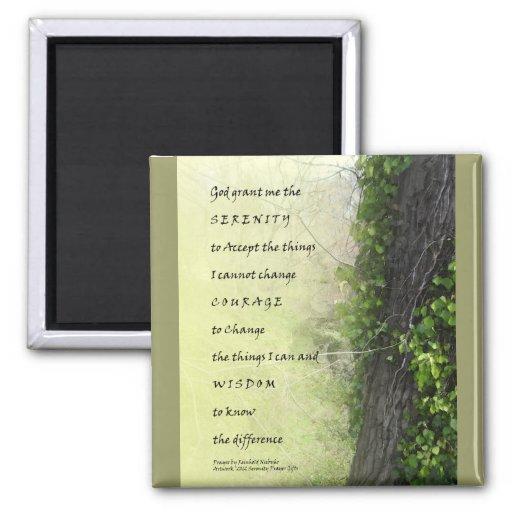 Árbol y reguera del rezo de la serenidad imán cuadrado