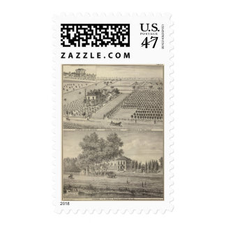 Arbolado de las residencias, aterrizaje de los sello postal