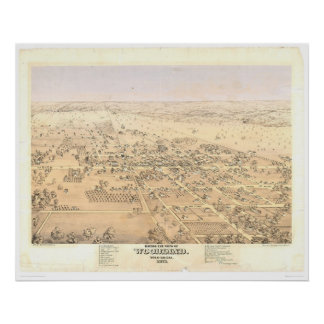 Arbolado, mapa panorámico del CA (1874A) Póster
