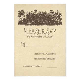 Arbolado rústico que casa las tarjetas de RSVP Invitación 12,7 X 17,8 Cm