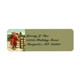 Arbolado Santa del vintage con las etiquetas que Etiqueta De Remitente