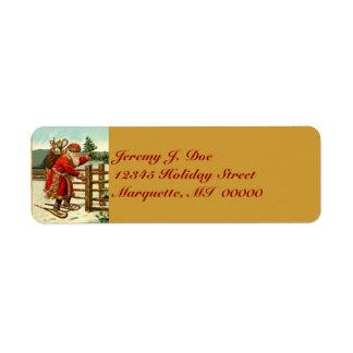 Arbolado Santa del vintage con las etiquetas que Etiquetas De Remite