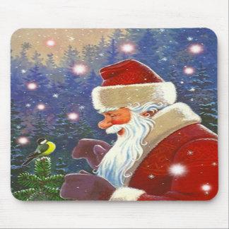 Arbolado Santa y pájaro dulce del Chickadee del pr Alfombrilla De Ratones