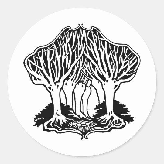 Arboleda de Nouveau del arte de árboles Pegatina Redonda
