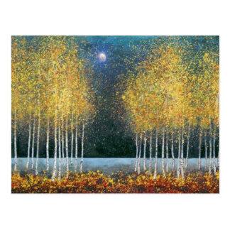 Arboleda de oro de la luna azul tarjetas postales