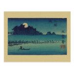 Arboleda iluminada por la luna tarjetas postales