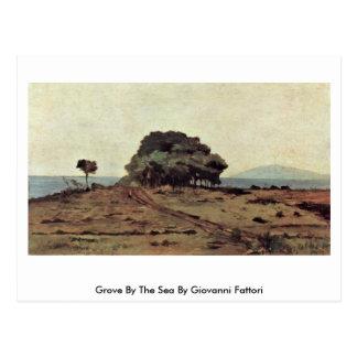 Arboleda por el mar de Giovanni Fattori Postal