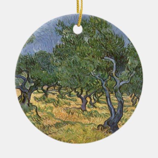 Arboleda verde oliva adornos de navidad