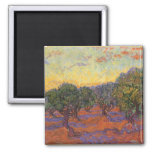 Arboleda verde oliva, cielo anaranjado de Vincent
