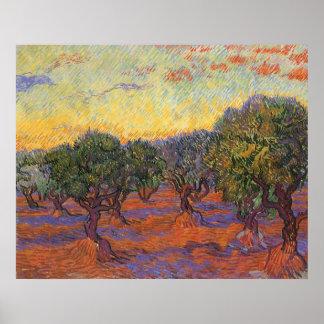 Arboleda verde oliva, cielo anaranjado de Vincent  Poster
