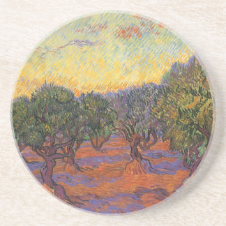 Arboleda verde oliva cielo anaranjado de Vincent
