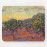 Arboleda verde oliva, cielo anaranjado de Vincent  Alfombrilla De Ratón