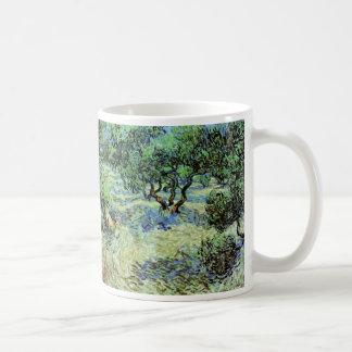 Arboleda verde oliva de Van Gogh, bella arte de Taza