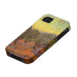 Arboleda verde oliva de Van Gogh: Cielo anaranjado iPhone 4 Carcasas