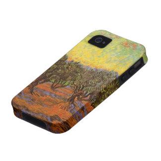 Arboleda verde oliva de Van Gogh Cielo anaranjado iPhone 4 Carcasas