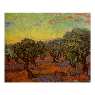 Arboleda verde oliva de Van Gogh: Cielo anaranjado Poster