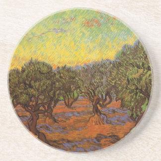 Arboleda verde oliva de Van Gogh Cielo anaranjado Posavasos Manualidades