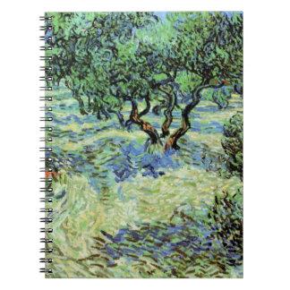 Arboleda verde oliva de Van Gogh, impresionismo Libros De Apuntes Con Espiral