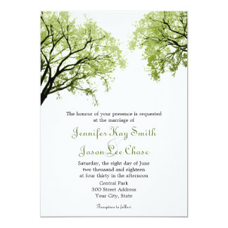 Árboles 2 de la primavera - invitaciones del boda invitación 12,7 x 17,8 cm