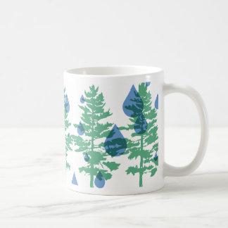 Árboles, agua, vida, taza