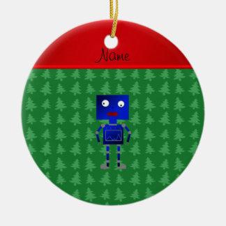 Árboles azules conocidos personalizados del verde adorno navideño redondo de cerámica