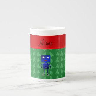 Árboles azules conocidos personalizados del verde taza de porcelana