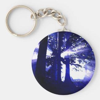 Árboles azules de la noche llavero redondo tipo pin
