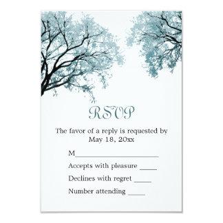 """Árboles azules en colores pastel - tarjeta de RSVP Invitación 3.5"""" X 5"""""""