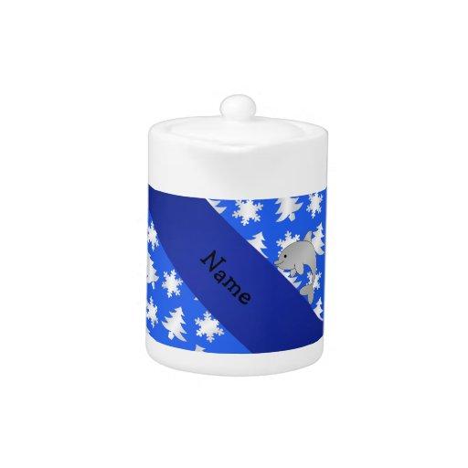 Árboles azules personalizados de los copos de niev
