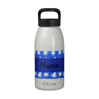 Árboles azules personalizados de los copos de niev botellas de beber