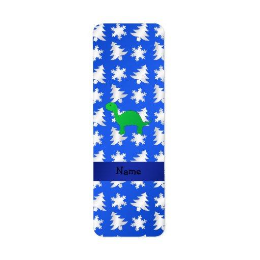 Árboles azules personalizados de los copos de niev etiqueta de remite