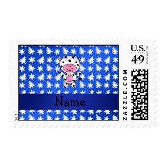 Árboles azules personalizados de los copos de sellos