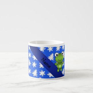 Árboles azules personalizados de los copos de taza espresso