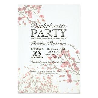 """Árboles bonitos de la flor de cerezo en blanco invitación 3.5"""" x 5"""""""