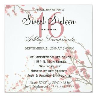 """Árboles bonitos de la flor de cerezo en blanco invitación 5.25"""" x 5.25"""""""