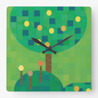 Árboles brillantes lindos del arte del mosaico con reloj cuadrado